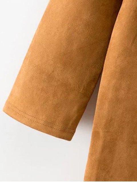 fashion Fringed Pockets Faux Suede Dress - BLACK M Mobile
