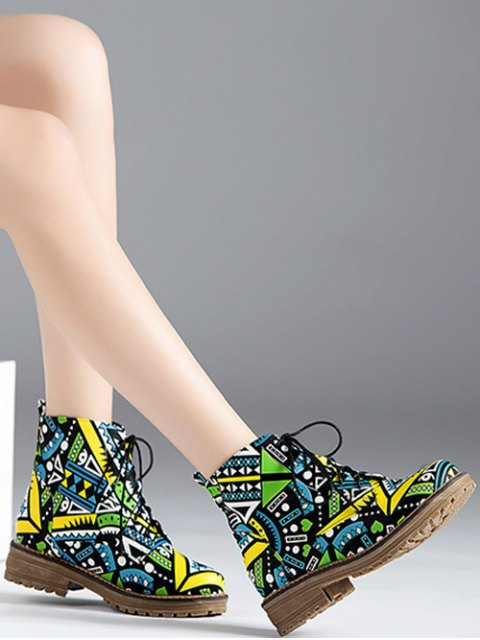 shops Patchwork Flat Heel Tie Up Ankle Boots - JADE GREEN 39 Mobile