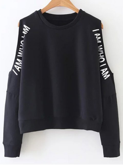 online Cold Shoulder Text Print Sweatshirt - BLACK S Mobile