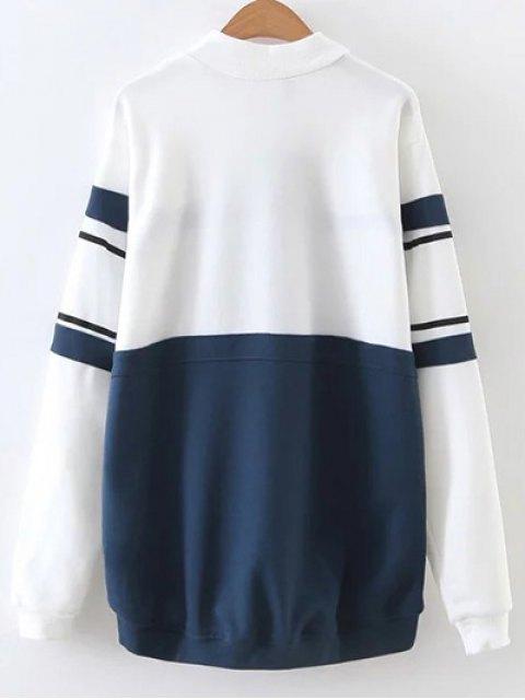 womens Mock Neck Oversized Sweatshirt - BLUE AND WHITE L Mobile
