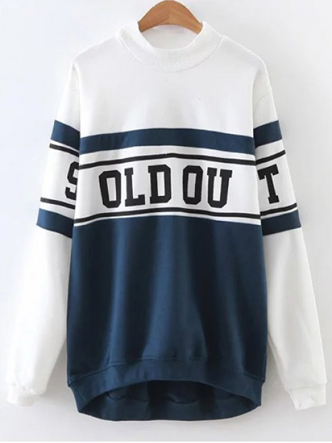 women Mock Neck Oversized Sweatshirt - BLUE AND WHITE M Mobile