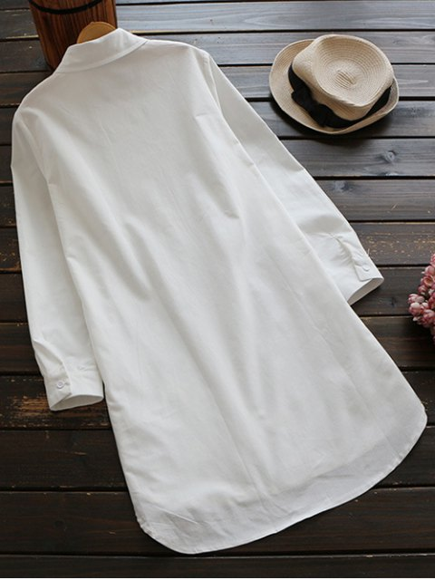 new Buttoned Embroidered Blouse Collared Shirt - WHITE M Mobile