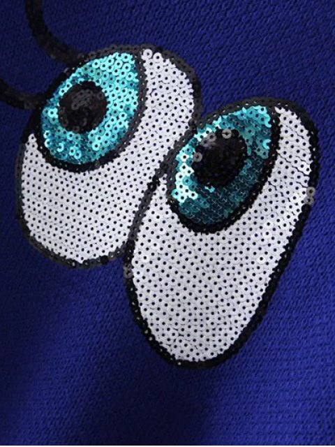 best Eye Pattern Sequins Sweater - BLACK ONE SIZE Mobile