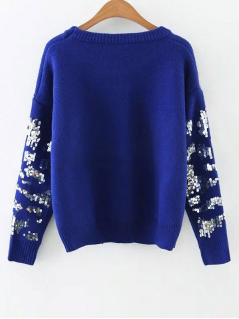 online Eye Pattern Sequins Sweater - BLUE ONE SIZE Mobile