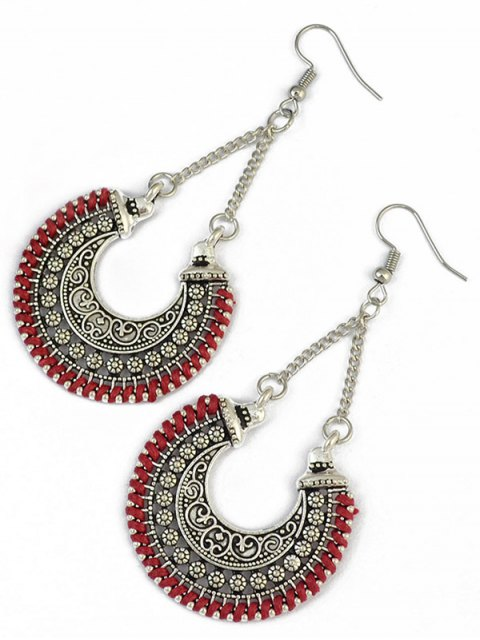 shop Crescent Carved Earrings - RED  Mobile