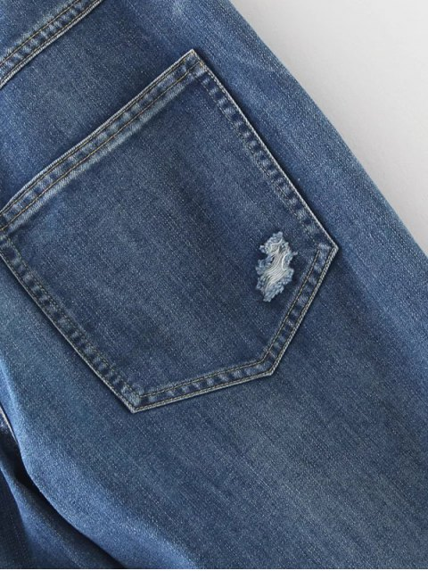 shop Distressed Pockets Jeans - LIGHT BLUE XL Mobile
