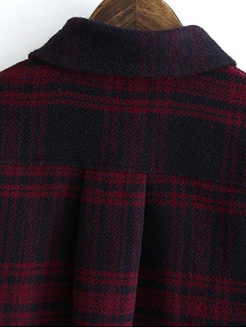 shop Letter Pattern Tartan Shirt - PLAID S Mobile