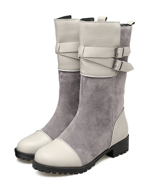 fashion Cross Straps Double Buckle Mid-Calf Boots - LIGHT GRAY 39 Mobile