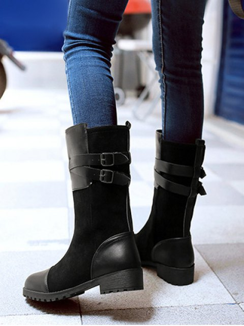 affordable Cross Straps Double Buckle Mid-Calf Boots - BLACK 38 Mobile