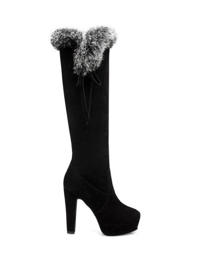 Zipper Platform Faux Fur Knee-High Boots - BLACK 39 Mobile