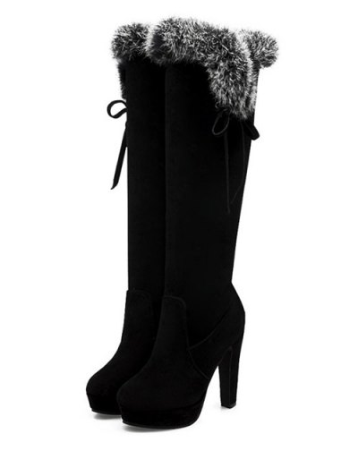Zipper Platform Faux Fur Knee-High Boots - BLACK 37 Mobile