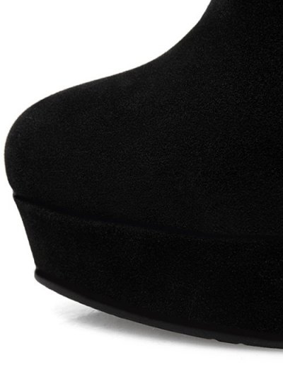 Zipper Platform Faux Fur Knee-High Boots - BLACK 38 Mobile