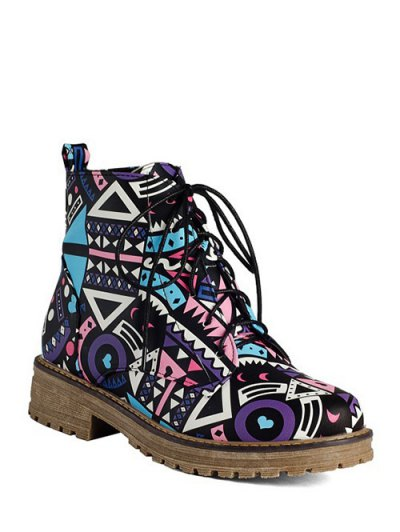 Patchwork Flat Heel Tie Up Ankle Boots - LAKE BLUE 39 Mobile