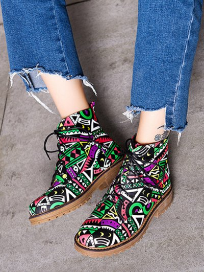 Patchwork Flat Heel Tie Up Ankle Boots - WATERMELON RED 38 Mobile