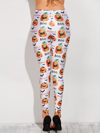 Printed Halloween Costume Leggings - WHITE 2XL Mobile