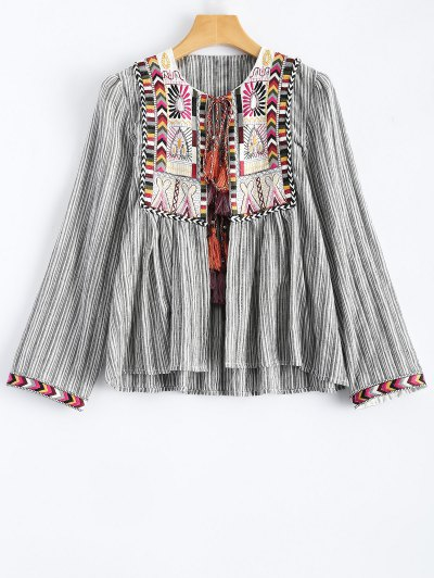 Striped Embroidered Jacket - Stripe
