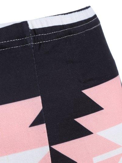 Geometric Print Yoga Leggings - BLACK ONE SIZE Mobile