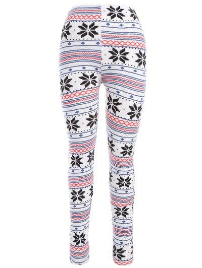Snowflake Print Christmas Leggings - WHITE ONE SIZE Mobile