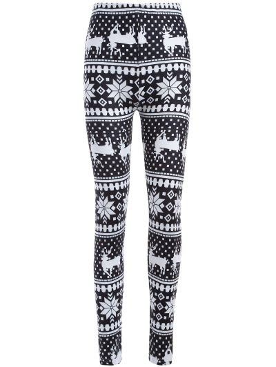 Christmas Deer Snowflake Print Leggings - WHITE AND BLACK ONE SIZE Mobile
