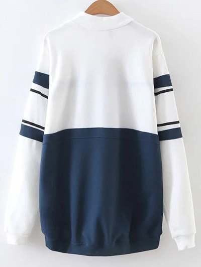 Mock Neck Oversized Sweatshirt - BLUE AND WHITE L Mobile