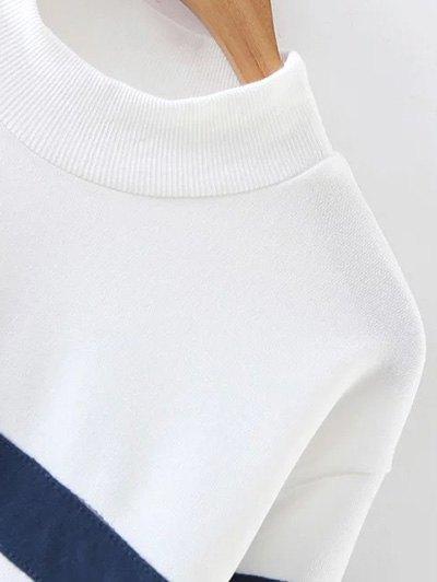 Mock Neck Oversized Sweatshirt - BLUE AND WHITE M Mobile