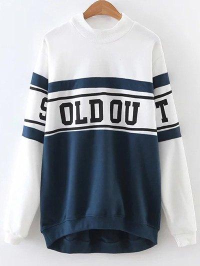Mock Neck Oversized Sweatshirt - BLUE AND WHITE S Mobile