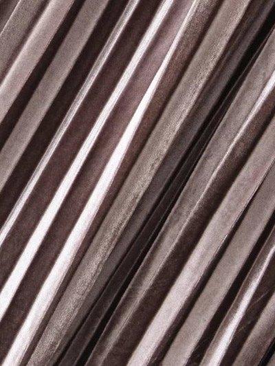 Pleated Velvet Skirt - GOLD BROWN ONE SIZE Mobile