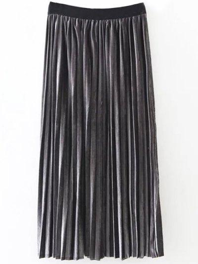 Pleated Velvet Skirt - DEEP GRAY ONE SIZE Mobile