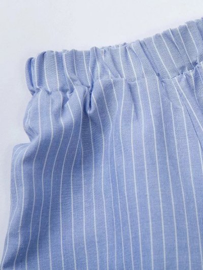 Long Sleeve Off Shoulder Striped Dress - BLUE AND WHITE L Mobile