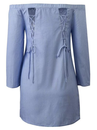 Long Sleeve Off Shoulder Striped Dress - BLUE AND WHITE S Mobile