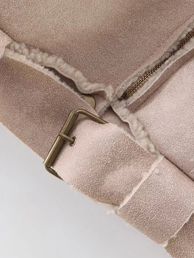 Fleece Lined Faux Suede Jacket - NUDE PINK L Mobile
