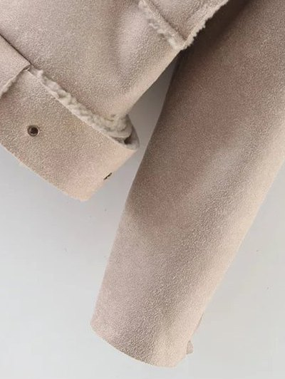 Fleece Lined Faux Suede Jacket - NUDE PINK M Mobile