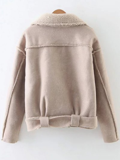 Fleece Lined Faux Suede Jacket - NUDE PINK S Mobile