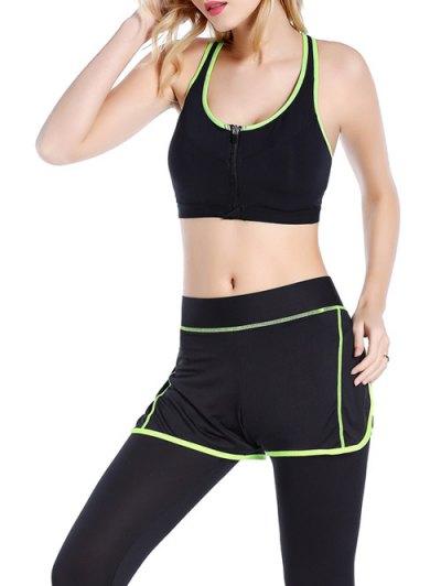 Push Up Front Zipper Sporty Bra - BLACK M Mobile