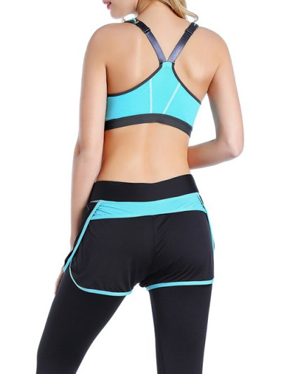 Push Up Front Zipper Sporty Bra - AZURE S Mobile