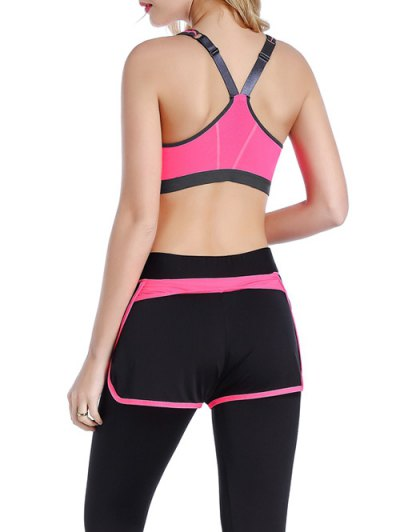 Push Up Front Zipper Sporty Bra - ROSE RED L Mobile
