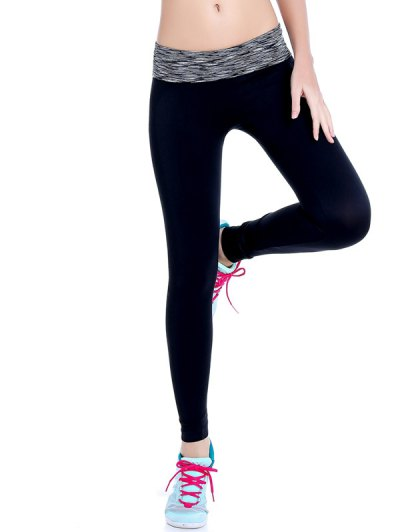 Stretchy Space Dyed Yoga Leggings - GRAY L Mobile