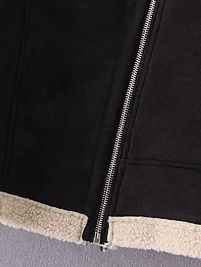 Fleece Lining Faux Suede Funnel Coat - BLACK M Mobile