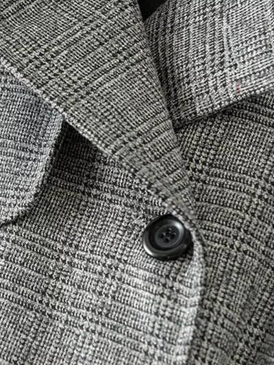 Double Breasted Houndstooth Coat - WHITE AND BLACK 2XL Mobile