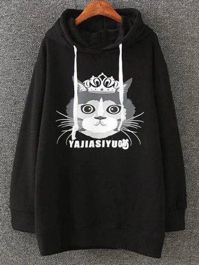 Plus Size Fleece Cartoon Cat Print Hoodie - BLACK XL Mobile