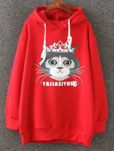 Plus Size Fleece Cartoon Cat Print Hoodie - RED 2XL Mobile