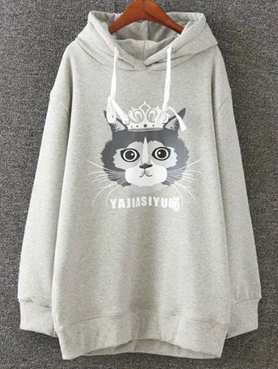 Plus Size Fleece Cartoon Cat Print Hoodie - LIGHT GRAY XL Mobile