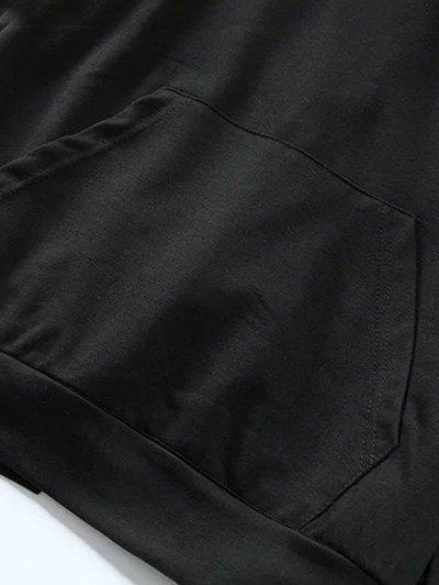 Back Lace Up V Neck Hoodie - BLACK M Mobile