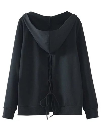Back Lace Up V Neck Hoodie - BLACK S Mobile