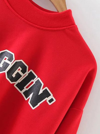 Mock Neck Graphic Cropped Sweatshirt - RED L Mobile