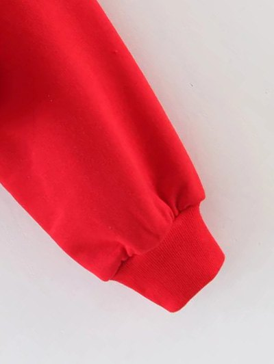 Mock Neck Graphic Cropped Sweatshirt - RED M Mobile