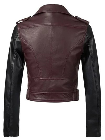 Color Block PU Leather Zippered Biker Jacket - WINE RED M Mobile