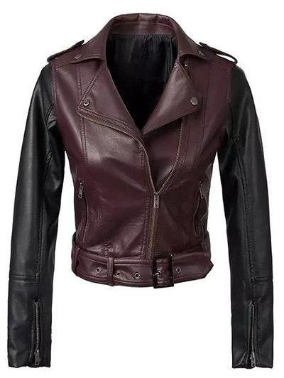 Color Block PU Leather Zippered Biker Jacket - Wine Red