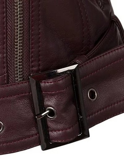 Color Block PU Leather Zippered Biker Jacket - WINE RED S Mobile