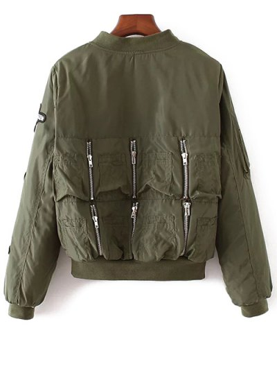 Rhinestoned Patched Jacket - ARMY GREEN L Mobile